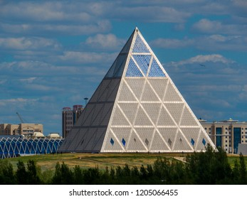 ASTANA, KAZAKHSTAN - JUNE 23, 2018: View of the Palace of Peace and Reconciliation on the Presidential Park.