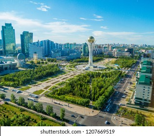 ASTANA, KAZAKHSTAN - JUNE 24, 2018: Aerial view of the downtown with the Baiterek Tower.