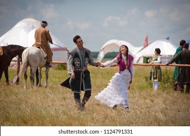 """Astana, Kazakhstan, June 30, 2018. International Festival """"Kóshpendiler Álemi""""."""