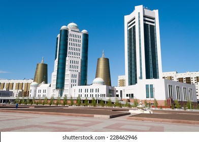 ASTANA, KAZAKHSTAN - MAY 10, 2014: Modern buildings on Water-Green Boulevard, Nurzhol Boulevard is the national boulevard of Kazakhstan, a pedestrian area in the new business and administrative centre