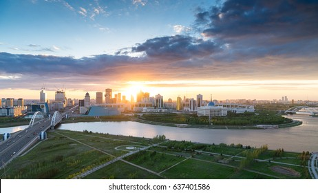 Astana, Kazakhstan - May 10, 2017: View to the riverside of Astana city. Capital of Kazakhstan. The city hosting EXPO 2017.