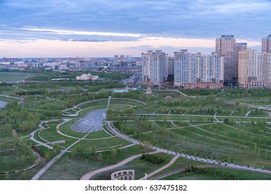 Astana, Kazakhstan - May 10, 2017: View to the riverside of Astana city. Capital of Kazakhstan.