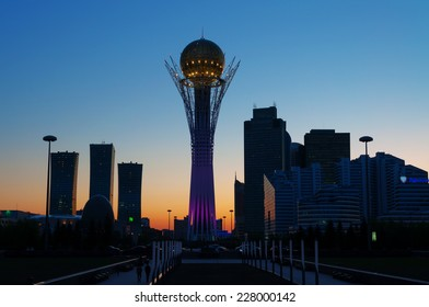 ASTANA, KAZAKHSTAN - MAY 9, 2014: View of Bayterek at night. Bayterek is a monument and observation tower in Astana. The height of buildings 105 meters