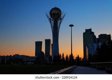 ASTANA, KAZAKHSTAN - MAY 9, 2014: View of Astana modern city at sunset. Astana is the capital city of Kazakhstan on 10 December 1997.  Population of 835153