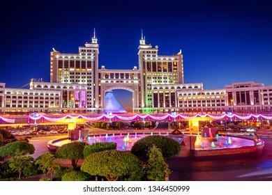 Astana, Kazakhstan, night view of the city illuminated to celebrate its 20th anniversary as capital of Kazakhstan
