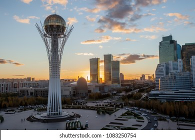 Astana / Kazakhstan - October 05 2015: Amazing top view on the central square and Baiterek
