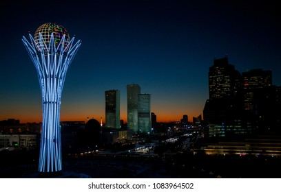 Astana / Kazakhstan - October 05 2015: Amazing night view on the central square and Baiterek