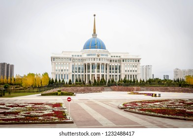 ASTANA, KAZAKHSTAN. October 12, 2018. Ak Orda Presidential Palace, it is the official workplace of the President of Kazakhstan Nursultan Nazarbayev in Astana, the capital of Kazakhstan.