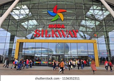 ASTANA, KAZAKHSTAN - SEPTEMBER 09: People at the entrance of mega Silkway shopping mall, Astana on September 9, 2017.