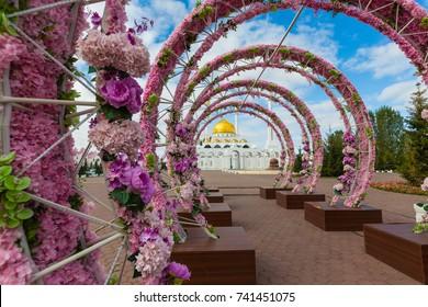 ASTANA, KAZAKHSTAN - SEPTEMBER 13, 2017: Exterior of the Nur Astana mosque in Astana, Kazakhstan. This mosque is the second largest in Kazakhstan.