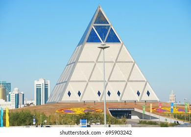 ASTANA, KAZAKHSTAN - SEPTEMBER 25, 2011: Exterior of the Palace of Peace and Reconciliation building in Astana, Kazakhstan.