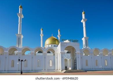 ASTANA, KAZAKHSTAN - SEPTEMBER 26, 2011: Nur Astana mosque in Astana, Kazakhstan. This mosque is the second largest in Kazakhstan.