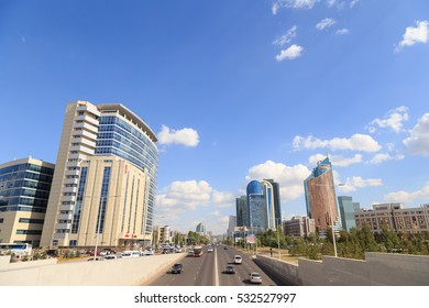 Astana, Kazakhstan - September 3, 2016: Kunaev Avenue, road traffic