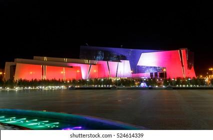 Astana, Kazakhstan - September 4, 2016: Natsionalnay Museum of the Republic of Kazakhstan at night