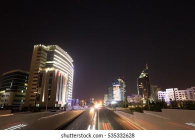 Astana, Kazakhstan - September 5, 2016: Night city traffic Kunaev Avenue