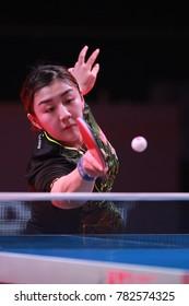Astana, KAZHAKHSTAN,Dec 17 2017 : Chen Meng From China beat 11-6, 11-3, 11-6, 12-10 Zhu Yuling in the Final of the  2017 ITTF World Tour Grand Finals