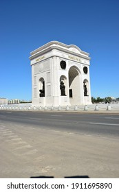 Astana (Nur-Sultan), Kazakhstan – 08.15.2016: Triumphal Arch (Mangilik El) in Astana (Nur-Sultan), capital of Kazakhstan