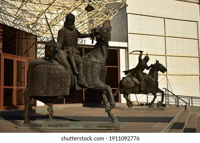 Astana (Nur-Sultan), Kazakhstan – 09.10.2020: Modern sculpture featuring a historical Kazakh warrior on horseback, in Astana (Nur-Sultan), capital of Kazakhstan