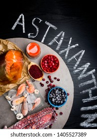 Astaxanthin Healthy Nutrition food, rich in iodine, omega3, antioxidants