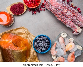 astaxanthin rich food as shrimps, red fish salmon, blueberry, cranberry, red seaweed, caviar, walmars tentacles