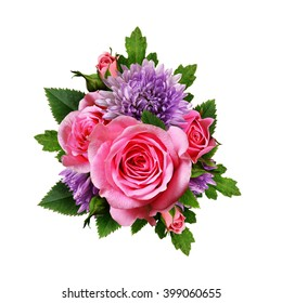 Aster and rose flowers bouquet isolated on white