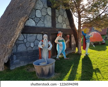 Asterix and Obelix movie characters. Realistic plastic sculptures. Konya - Turkey. November 2018.