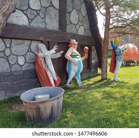Asterix and Obelix movie characters. Realistic plastic sculptures. Konya - Turkey. 2019.