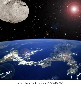 Asteroid aproaches to the earth. The elements of this image furnished by NASA.