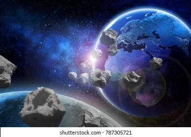 Asteroids flying close to the planet Earth. Elements of this image furnished by NASA