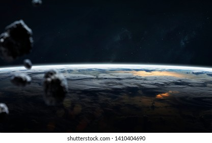 Asteroids on the Earth orbit, space scientific wallpaper. Elements of this image furnished by NASA