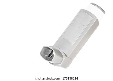 Asthma allergy inhaler sprayer, isolated on a white background. Open, grey color plastic inhaler with usage instructions on container. Room for text, copyspace. Horizontal photo.