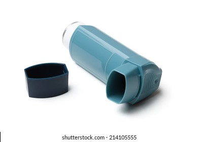 Asthma inhaler isolated on white.