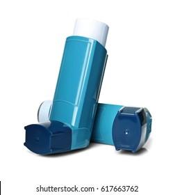 Asthma inhalers on white background