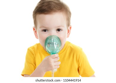 Asthma patient, children boy diagnosis asthma inhalation therapy the mask of inhaler. Close up a little kid with respiratory disease problem or asthma.