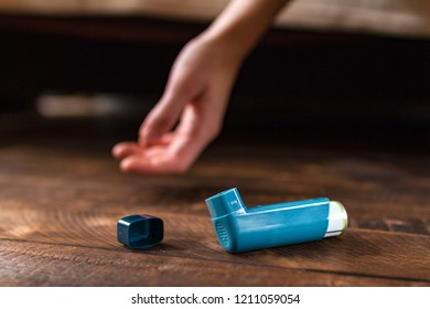 An asthmatic person fell unconscious during an asthma attack. Asthma and COPD disease concept