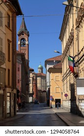 asti city downtown in italy with bell tower and historical buildings