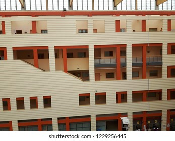 Asti, Italy - 07/11/2018: An amazing modern constructions from the hospital of Asti, using woods and glasses with also some decorative paints