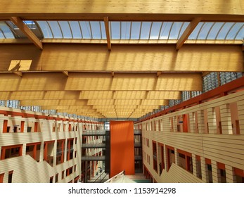 Asti, Italy - 07/27/2018: An amazing modern constructions from the hospital of Asti, using woods and glasses with also some decorative paints
