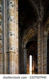 ASTI, ITALY - AUGUST 20, 2017: Cathedral of Asti, Italy. detail of the main nave with painted columns, on august 20, 2017
