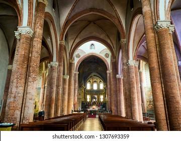 Asti, Italy - January 1, 2019. Nave of The Saint Secondo Catholic Church, Collegiate  di San Secondo. Asti, Piedmont, Italy.