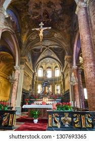 Asti, Italy - January 1, 2019. Chancel of The Saint Secondo Catholic Church, Collegiate  di San Secondo. Asti, Piedmont, Italy.