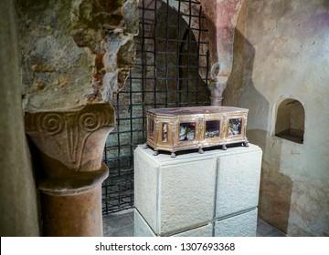 Asti, Italy - January 1, 2019. The reliquary in silver containing the bones of San Secondo in the Cella Confessionis, the crypt of The Saint Secondo Catholic Church, Collegiate di San Secondo. Asti.
