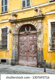 Asti, Italy - January 1, 2019. Main facade of The Palazzo Gazelli Rossana Palace. Asti, Piedmont, Italy.