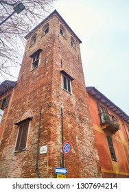 Asti, Italy - January 1, 2019. Torre dei Natta Tower. View from the Via Milliavacca with Via Natta corner. Asti, Piedmont, Italy.