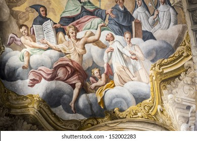 ASTI, ITALY - JUNE 25, 2013: painting in the interior of the cathedral in Asti on June 25th, 2013. The Cathedral of Asti (Piedmont), of Baroque era, is a catholic place of worship open to visitors.