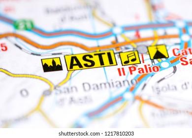 Asti. Italy on a map