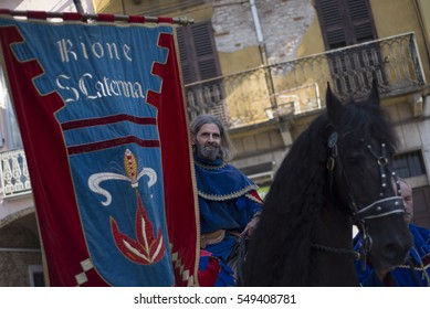 Asti,Italy - September 18,2016: The jockey and the horse are blessed ahead of the Palio Di Asti on September 18, 2016 in Asti, Italy