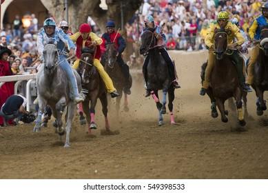 ASTI,ITALY-September 18, 2016: Jockey and horse on horses race of Palio Di Asti in Asti, Italy