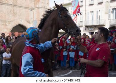 ASTI,ITALY-September 18, 2016: traditional parade before horses race of Palio Di Asti in Asti, Italy