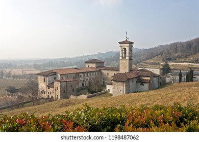 Astino valley and ancient romanesque monastery, Bergamo, Italy